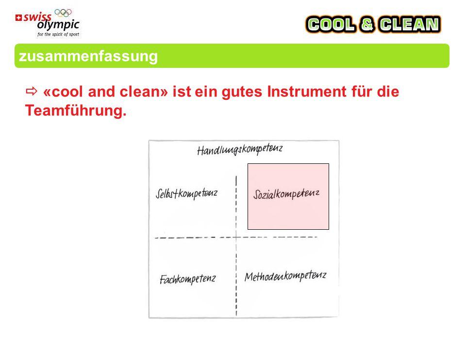 zusammenfassung  «cool and clean» ist ein gutes Instrument für die Teamführung.