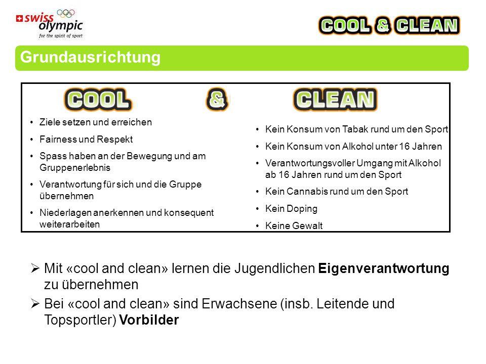 Grundausrichtung  Mit «cool and clean» lernen die Jugendlichen Eigenverantwortung zu übernehmen  Bei «cool and clean» sind Erwachsene (insb.