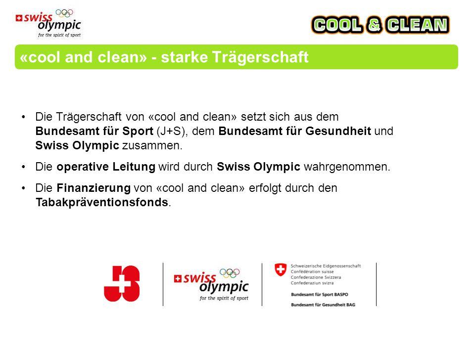 «cool and clean» - starke Trägerschaft Die Trägerschaft von «cool and clean» setzt sich aus dem Bundesamt für Sport (J+S), dem Bundesamt für Gesundheit und Swiss Olympic zusammen.