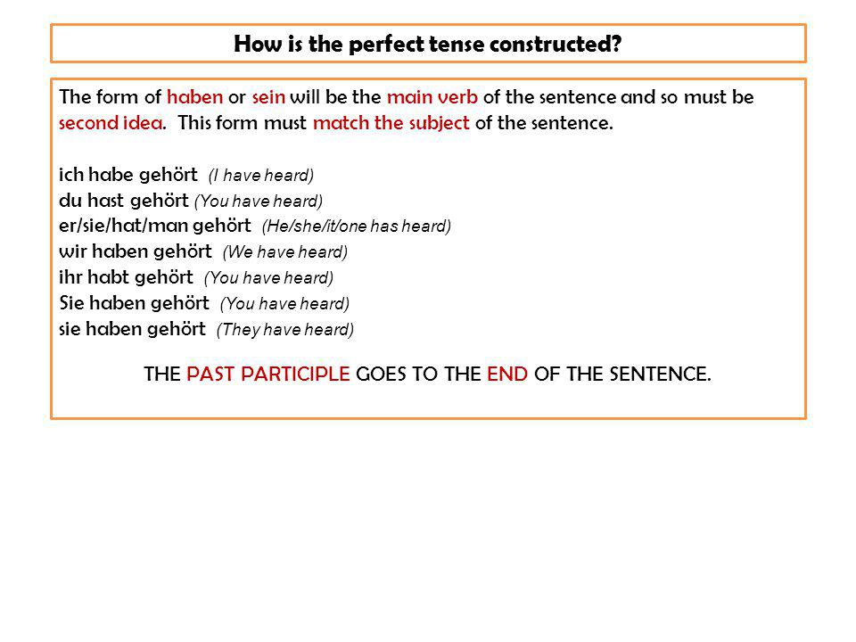 Check your understanding.How many examples of the perfect tense can you see in this text.