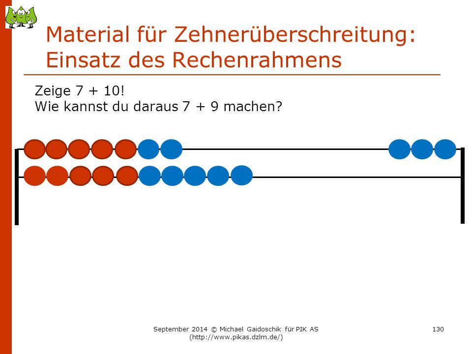 Material für Zehnerüberschreitung: Einsatz des Rechenrahmens Zeige 7 + 10! Wie kannst du daraus 7 + 9 machen? September 2014 © Michael Gaidoschik für