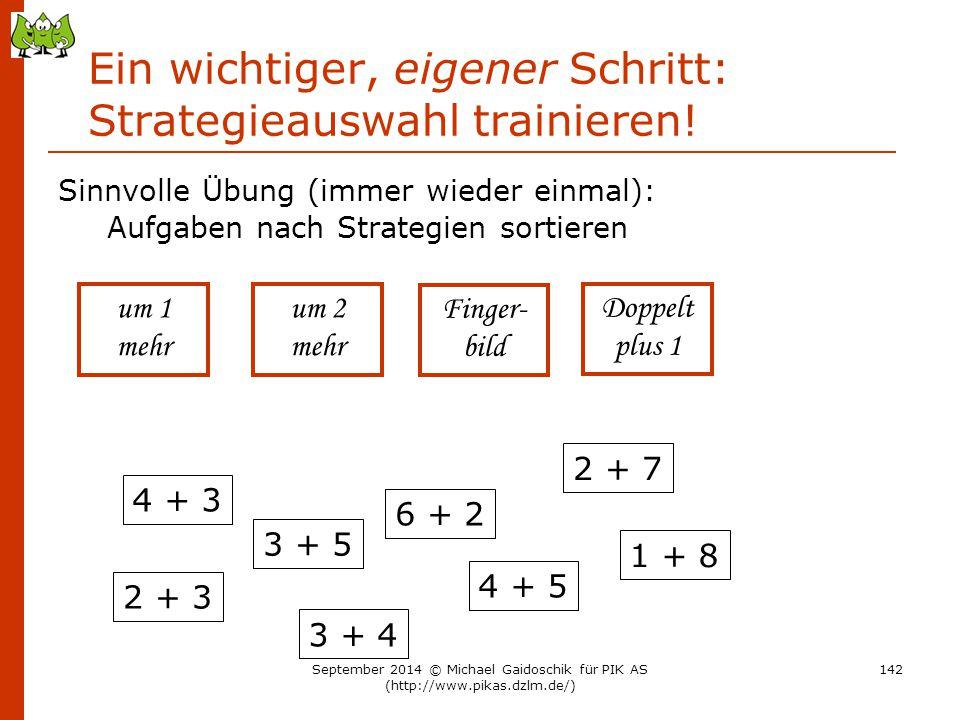 Ein wichtiger, eigener Schritt: Strategieauswahl trainieren! Sinnvolle Übung (immer wieder einmal): Aufgaben nach Strategien sortieren 4 + 3 3 + 5 6 +