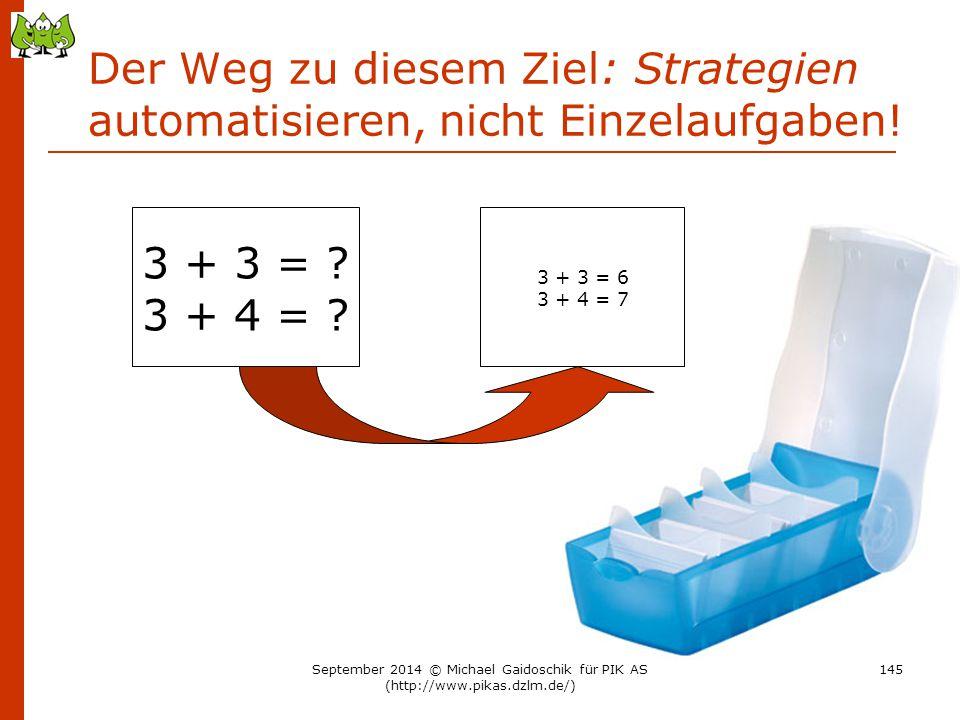 Der Weg zu diesem Ziel: Strategien automatisieren, nicht Einzelaufgaben! 3 + 3 = ? 3 + 4 = ? 3 + 3 = 6 3 + 4 = 7 September 2014 © Michael Gaidoschik f