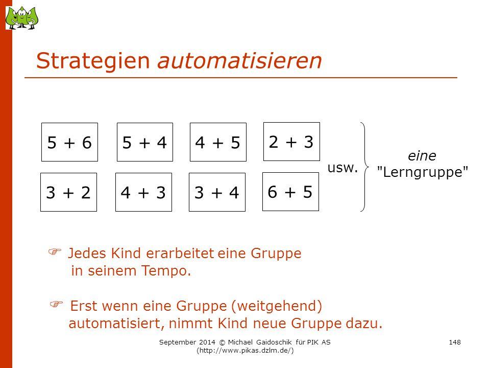 Strategien automatisieren 3 + 2 5 + 6 4 + 3 5 + 4 3 + 4 4 + 5 6 + 5 2 + 3 eine