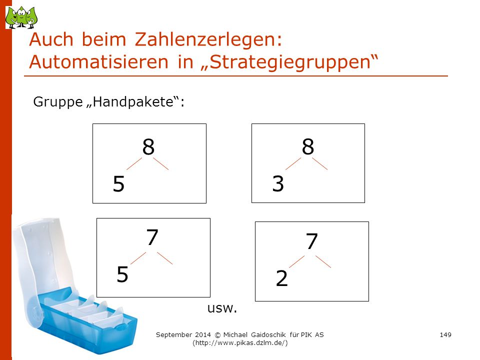"""Auch beim Zahlenzerlegen: Automatisieren in """"Strategiegruppen"""" 8 5 Gruppe """"Handpakete"""": 8 3 7 5 7 2 usw. 149September 2014 © Michael Gaidoschik für PI"""