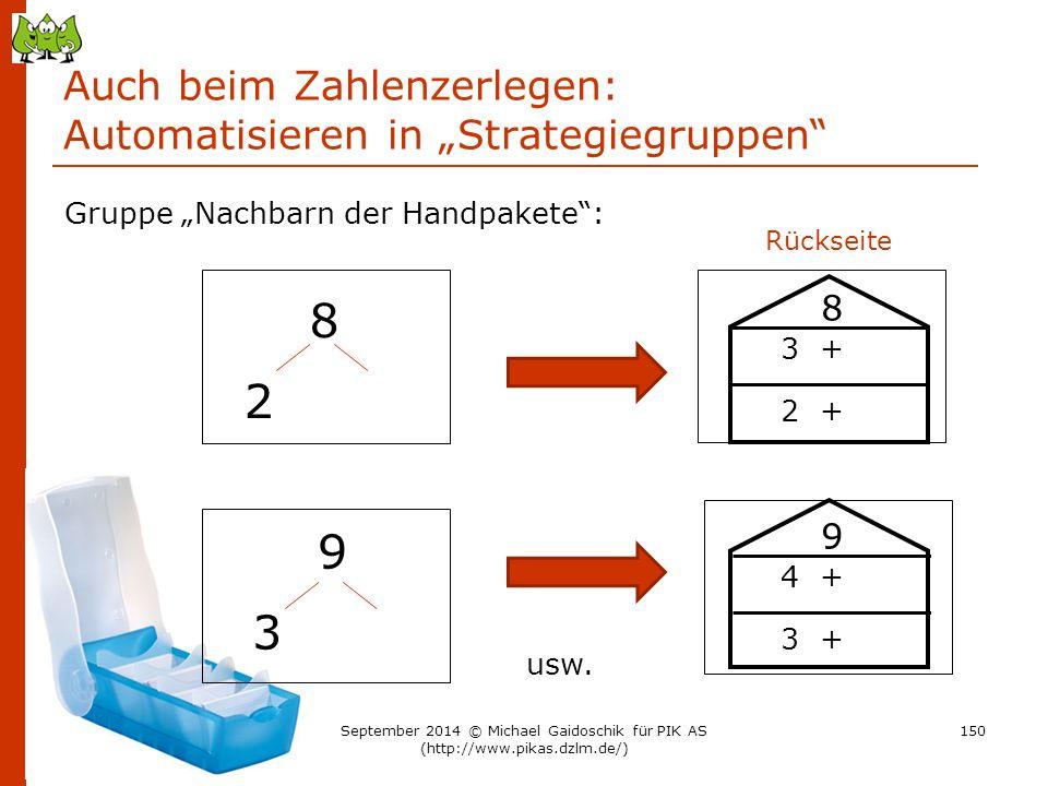 """Auch beim Zahlenzerlegen: Automatisieren in """"Strategiegruppen"""" 8 2 Gruppe """"Nachbarn der Handpakete"""": 9 3 usw. Rückseite 8 3 + 2 + 9 4 + 3 + 150Septemb"""