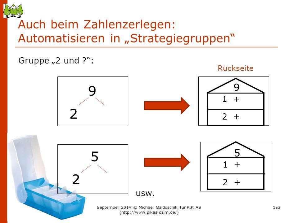 """Auch beim Zahlenzerlegen: Automatisieren in """"Strategiegruppen"""" 9 2 Gruppe """"2 und ?"""": 5 2 usw. Rückseite 9 1 + 2 + 5 1 + 2 + 153September 2014 © Michae"""