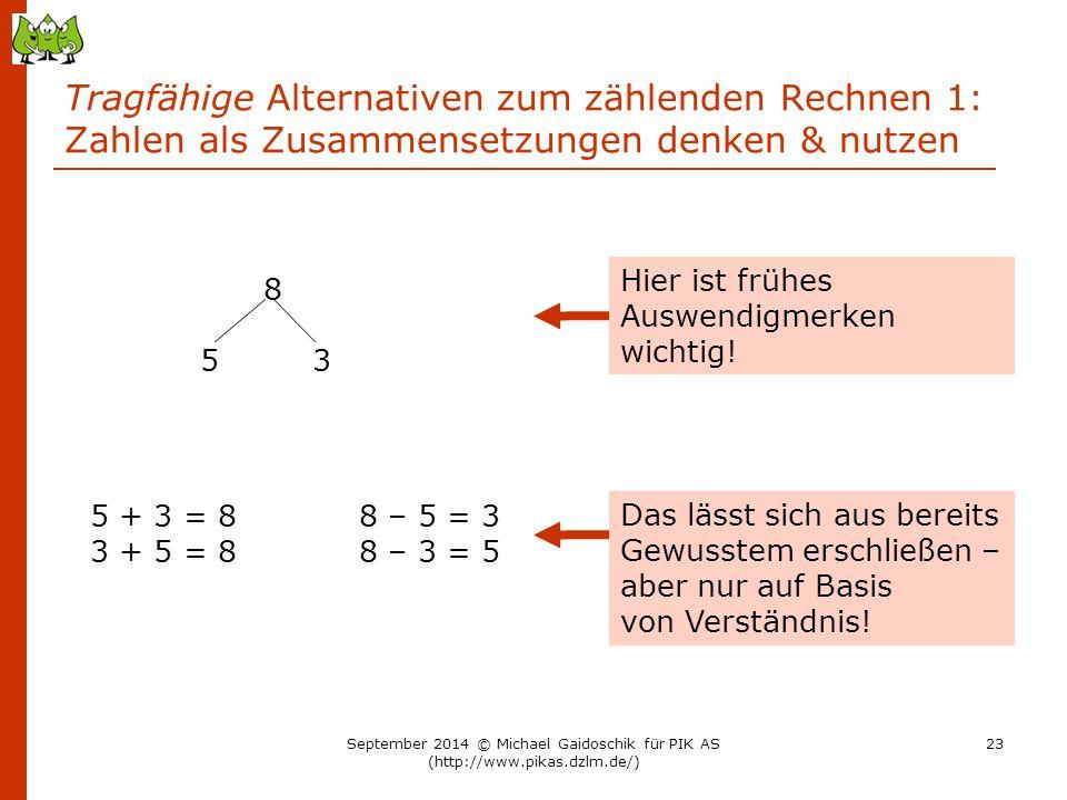 Tragfähige Alternativen zum zählenden Rechnen 1: Zahlen als Zusammensetzungen denken & nutzen 8 5 3 5 + 3 = 8 3 + 5 = 8 8 – 5 = 3 8 – 3 = 5 Hier ist f
