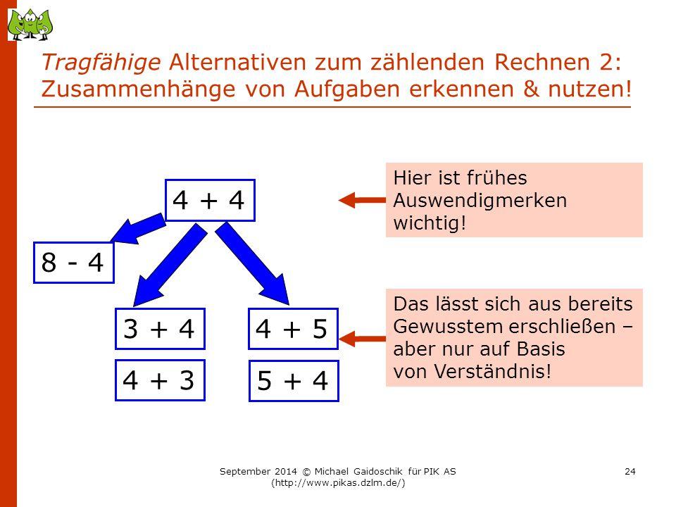 Tragfähige Alternativen zum zählenden Rechnen 2: Zusammenhänge von Aufgaben erkennen & nutzen! 4 + 4 3 + 4 4 + 3 4 + 5 5 + 4 8 - 4 Hier ist frühes Aus