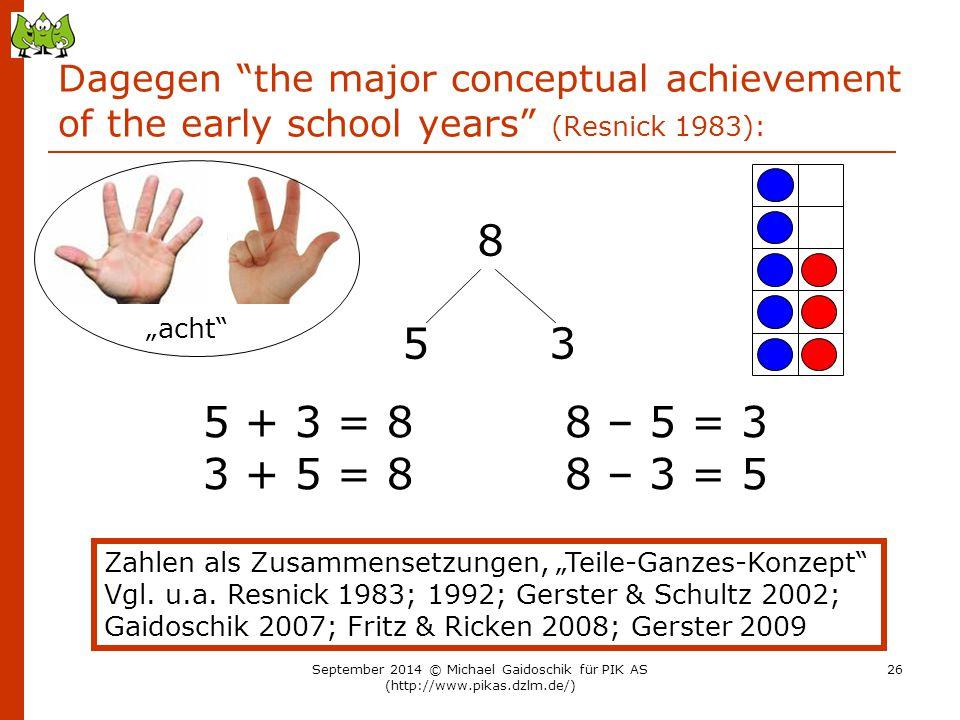 "Dagegen ""the major conceptual achievement of the early school years"" (Resnick 1983): 8 5 3 5 + 3 = 8 3 + 5 = 8 8 – 5 = 3 8 – 3 = 5 Zahlen als Zusammen"