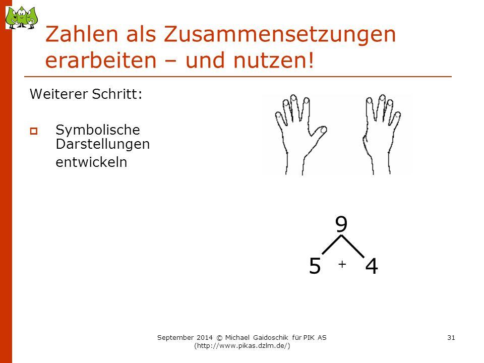 Zahlen als Zusammensetzungen erarbeiten – und nutzen! Weiterer Schritt:  Symbolische Darstellungen entwickeln 9 5 4 + September 2014 © Michael Gaidos