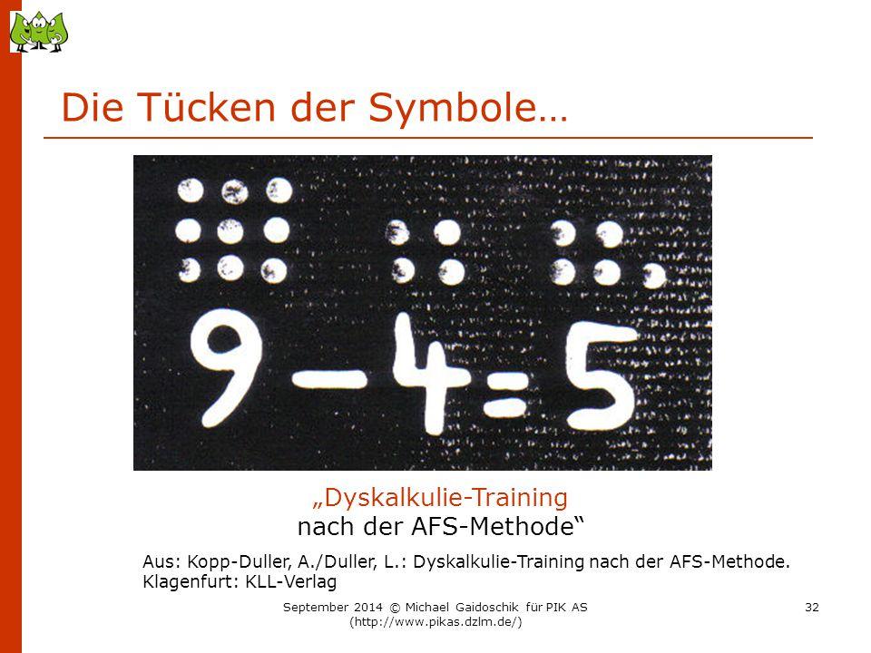 """Die Tücken der Symbole… """"Dyskalkulie-Training nach der AFS-Methode"""" Aus: Kopp-Duller, A./Duller, L.: Dyskalkulie-Training nach der AFS-Methode. Klagen"""