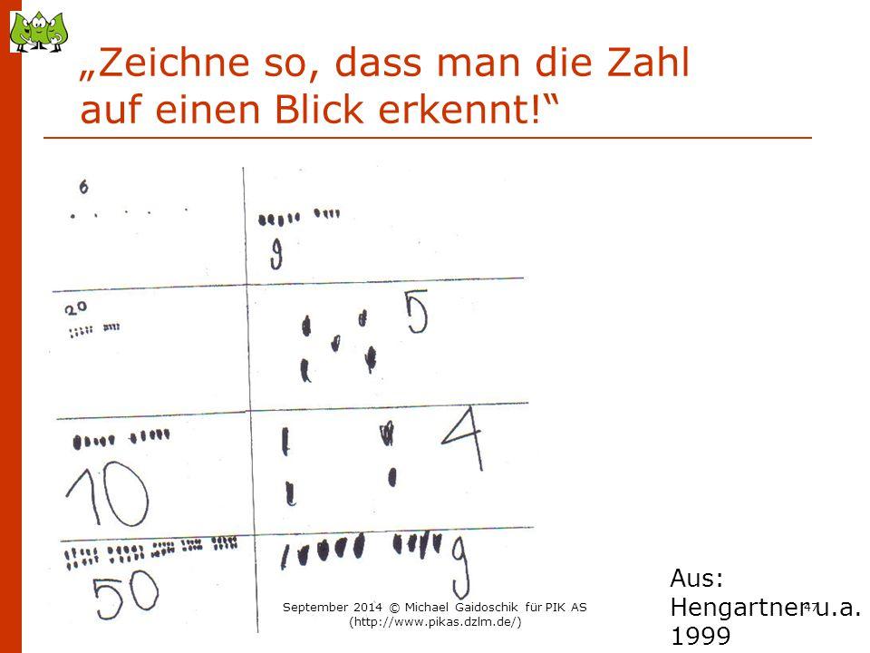 """""""Zeichne so, dass man die Zahl auf einen Blick erkennt!"""" Aus: Hengartner u.a. 1999 September 2014 © Michael Gaidoschik für PIK AS (http://www.pikas.dz"""
