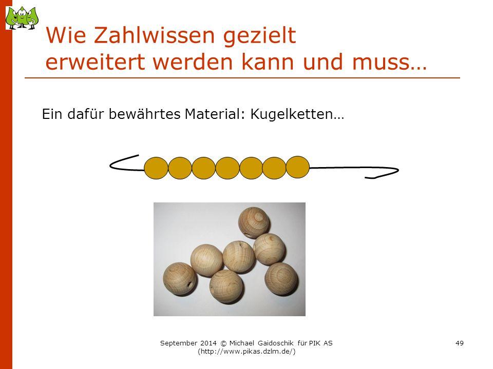 Wie Zahlwissen gezielt erweitert werden kann und muss… Ein dafür bewährtes Material: Kugelketten… September 2014 © Michael Gaidoschik für PIK AS (http