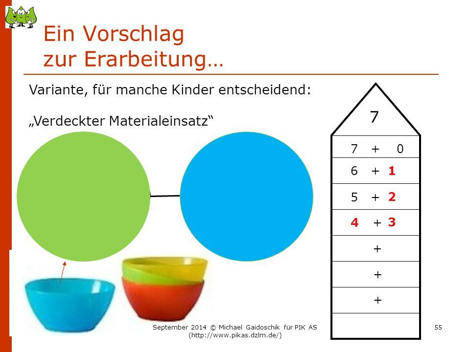 """Ein Vorschlag zur Erarbeitung… 7 5 + + 7 + 0 6 + + + + 1 2 3 4 Variante, für manche Kinder entscheidend: """"Verdeckter Materialeinsatz"""" September 2014 ©"""