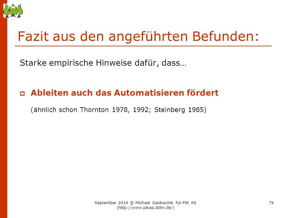 Fazit aus den angeführten Befunden: Starke empirische Hinweise dafür, dass…  Ableiten auch das Automatisieren fördert (ähnlich schon Thornton 1978, 1