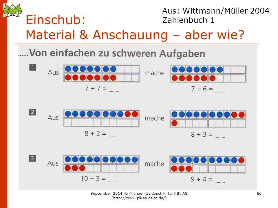 Einschub: Material & Anschauung – aber wie? Aus: Wittmann/Müller 2004 Zahlenbuch 1 September 2014 © Michael Gaidoschik für PIK AS (http://www.pikas.dz