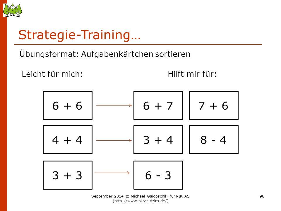 Strategie-Training… 6 + 6 Übungsformat: Aufgabenkärtchen sortieren Leicht für mich:Hilft mir für: 4 + 4 3 + 3 6 + 77 + 6 3 + 48 - 4 6 - 3 September 20