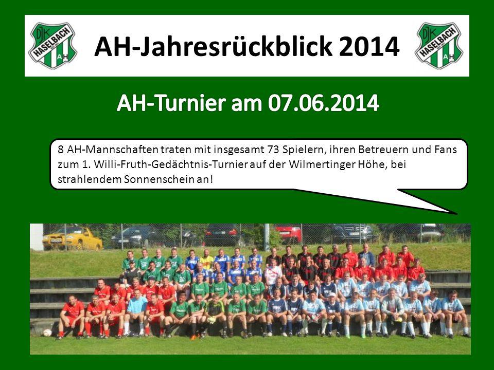 AH-Jahresrückblick 2014 8 AH-Mannschaften traten mit insgesamt 73 Spielern, ihren Betreuern und Fans zum 1.