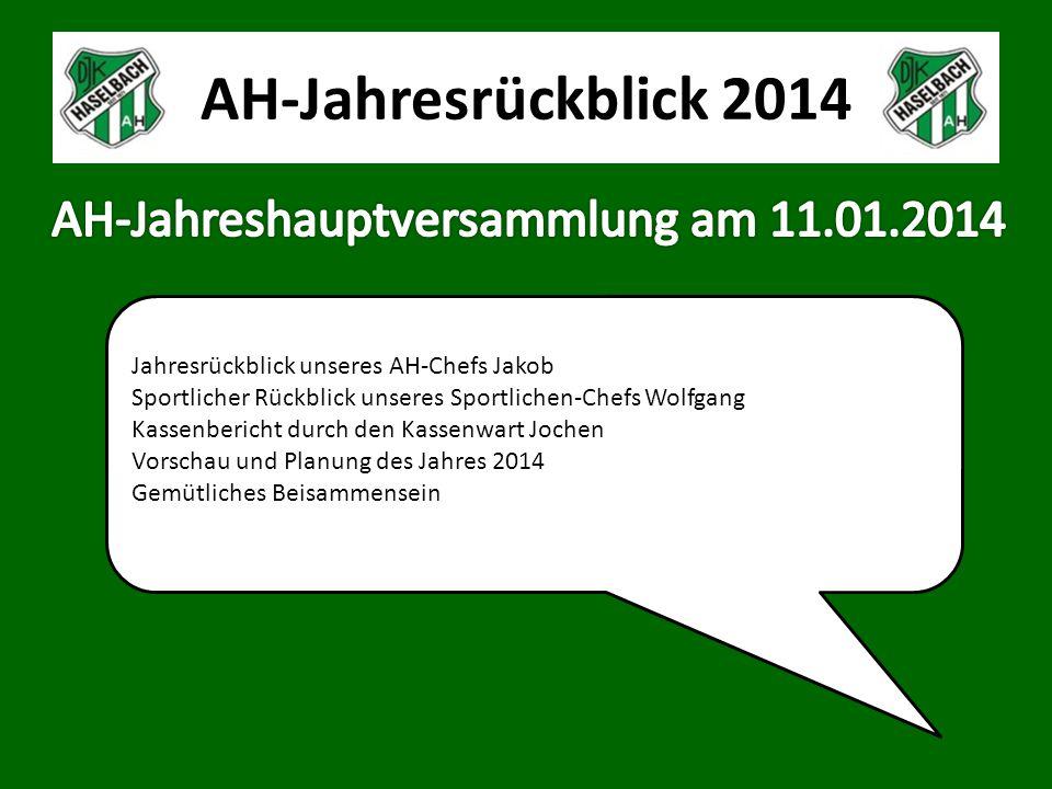 AH-Jahresrückblick 2014 Unsere AH konnte in diesem Jahr nur 5 von 15 geplanten Spielen austragen.