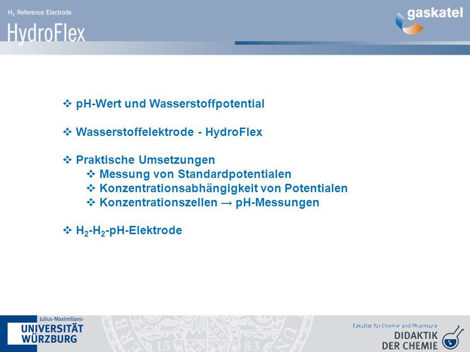  pH-Wert und Wasserstoffpotential  Wasserstoffelektrode - HydroFlex  Praktische Umsetzungen  Messung von Standardpotentialen  Konzentrationsabhängigkeit von Potentialen  Konzentrationszellen → pH-Messungen  H 2 -H 2 -pH-Elektrode