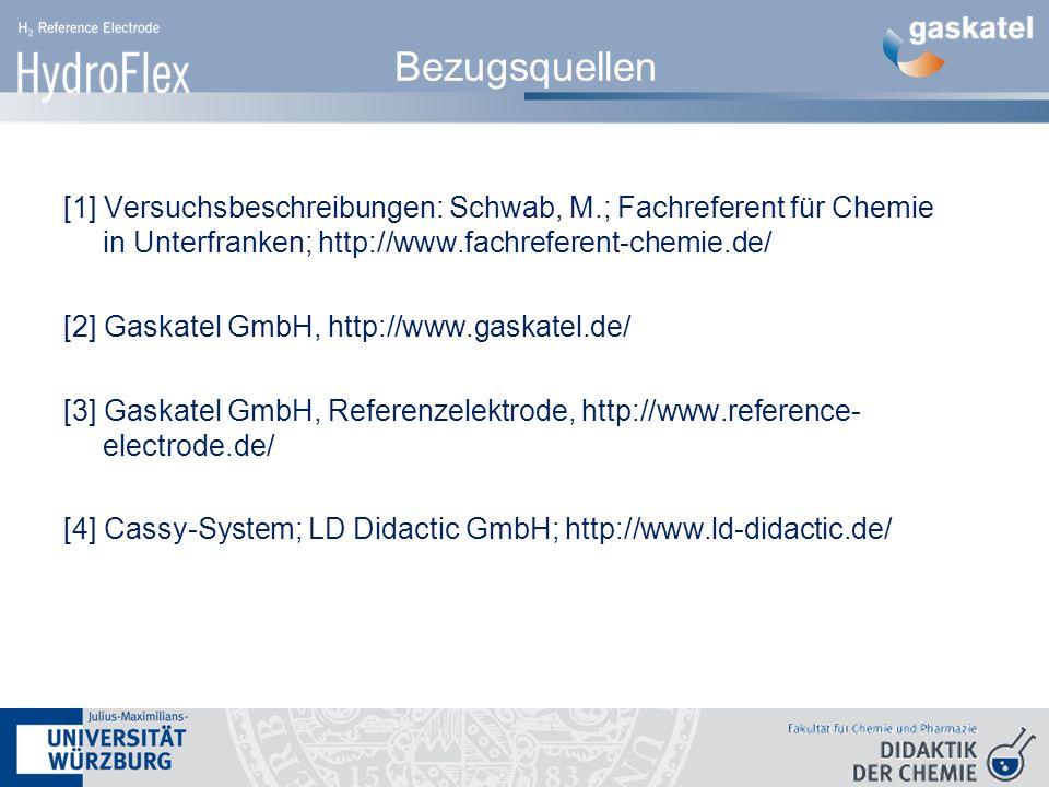Bezugsquellen [1] Versuchsbeschreibungen: Schwab, M.; Fachreferent für Chemie in Unterfranken; http://www.fachreferent-chemie.de/ [2] Gaskatel GmbH, http://www.gaskatel.de/ [3] Gaskatel GmbH, Referenzelektrode, http://www.reference- electrode.de/ [4] Cassy-System; LD Didactic GmbH; http://www.ld-didactic.de/