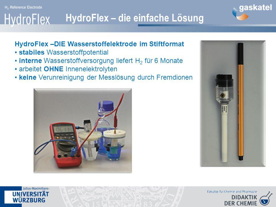 HydroFlex – die einfache Lösung HydroFlex –DIE Wasserstoffelektrode im Stiftformat stabiles Wasserstoffpotential interne Wasserstoffversorgung liefert H 2 für 6 Monate arbeitet OHNE Innenelektrolyten keine Verunreinigung der Messlösung durch Fremdionen