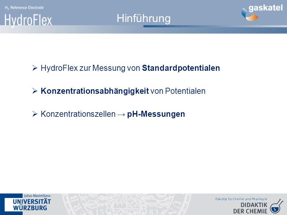 Hinführung  HydroFlex zur Messung von Standardpotentialen  Konzentrationsabhängigkeit von Potentialen  Konzentrationszellen → pH-Messungen