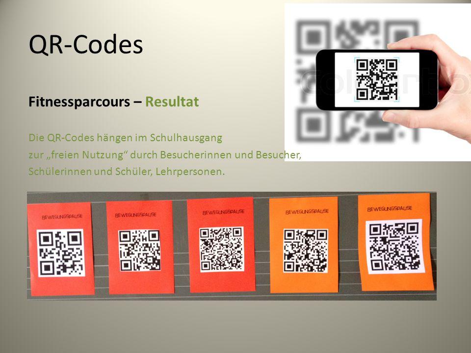 """QR-Codes Fitnessparcours – Resultat Die QR-Codes hängen im Schulhausgang zur """"freien Nutzung durch Besucherinnen und Besucher, Schülerinnen und Schüler, Lehrpersonen."""