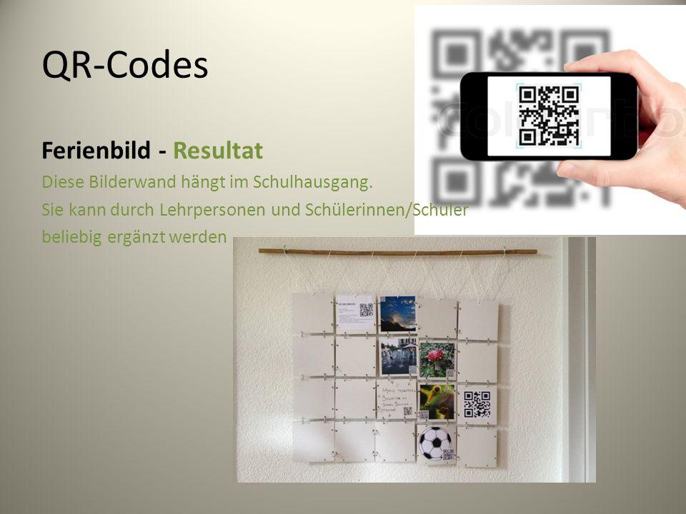 QR-Codes Ferienbild - Resultat Diese Bilderwand hängt im Schulhausgang.