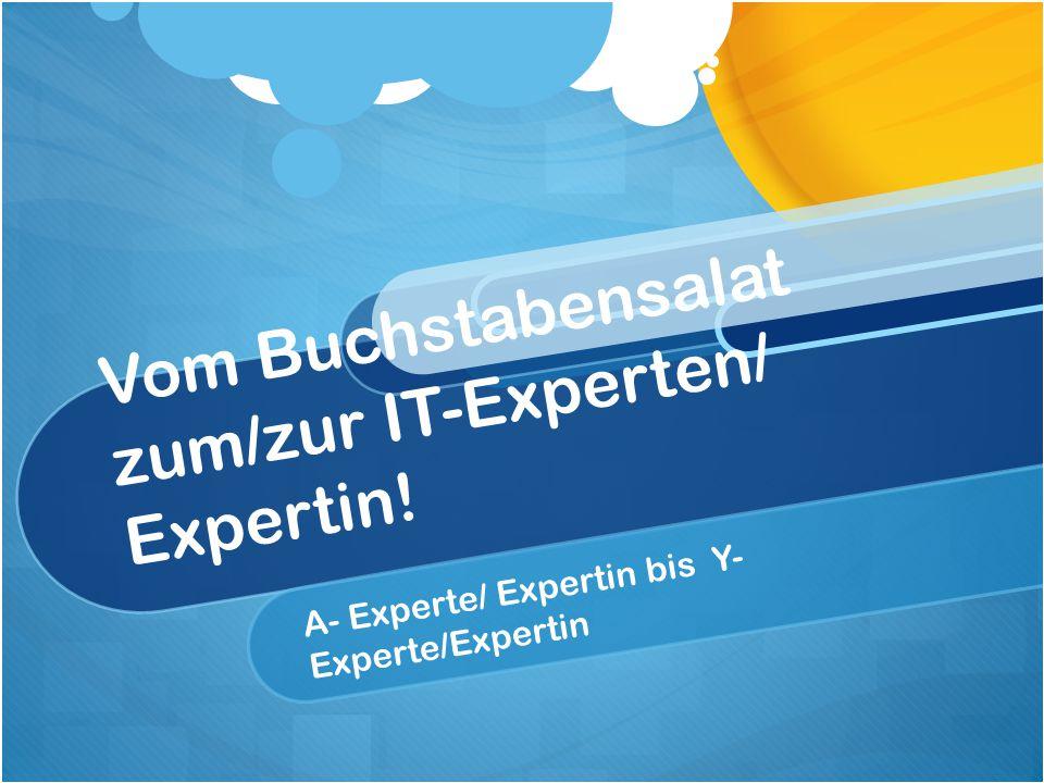 Vom Buchstabensalat zum/zur IT-Experten/ Expertin! A- Experte/ Expertin bis Y- Experte/Expertin