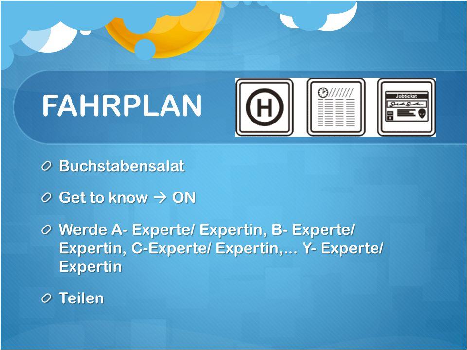 FAHRPLAN Buchstabensalat Get to know  ON Werde A- Experte/ Expertin, B- Experte/ Expertin, C-Experte/ Expertin,...
