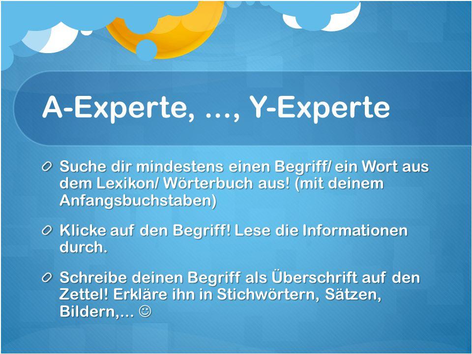 A-Experte,..., Y-Experte Suche dir mindestens einen Begriff/ ein Wort aus dem Lexikon/ Wörterbuch aus.