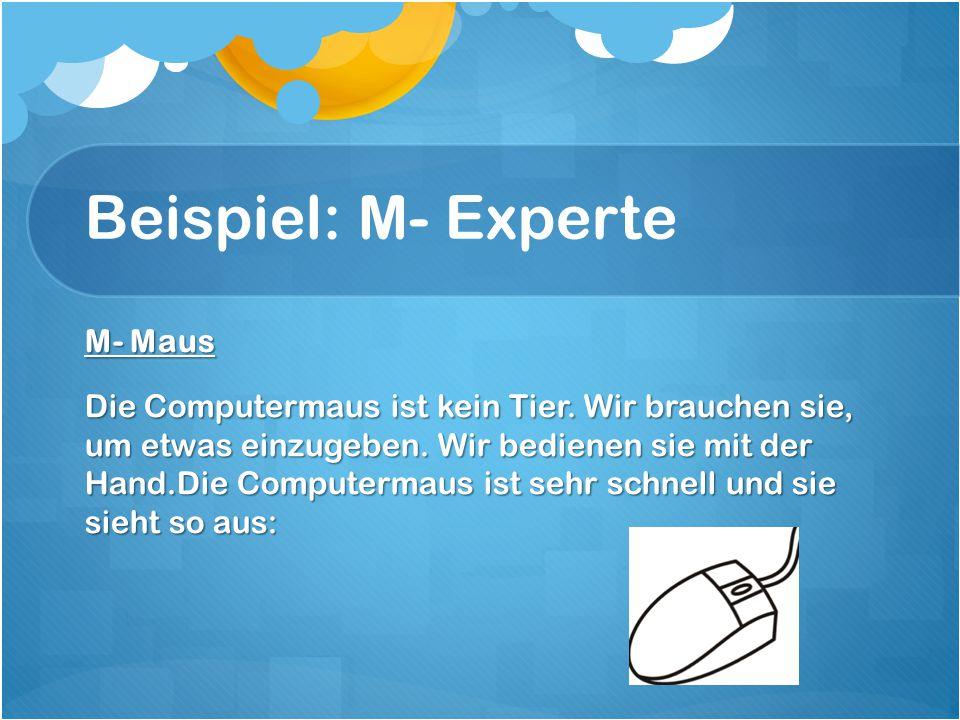 Beispiel: M- Experte M- Maus Die Computermaus ist kein Tier.