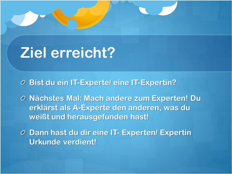 Ziel erreicht. Bist du ein IT-Experte/ eine IT-Expertin.