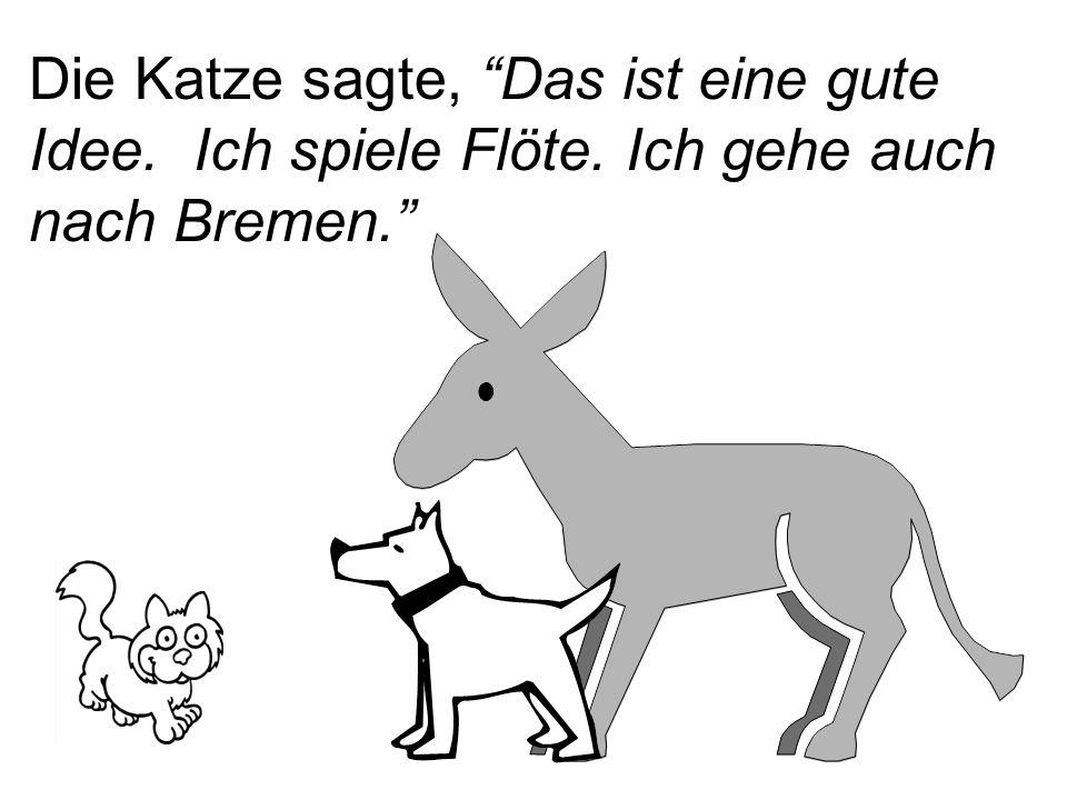 """Die Katze sagte, """"Das ist eine gute Idee. Ich spiele Flöte. Ich gehe auch nach Bremen."""""""