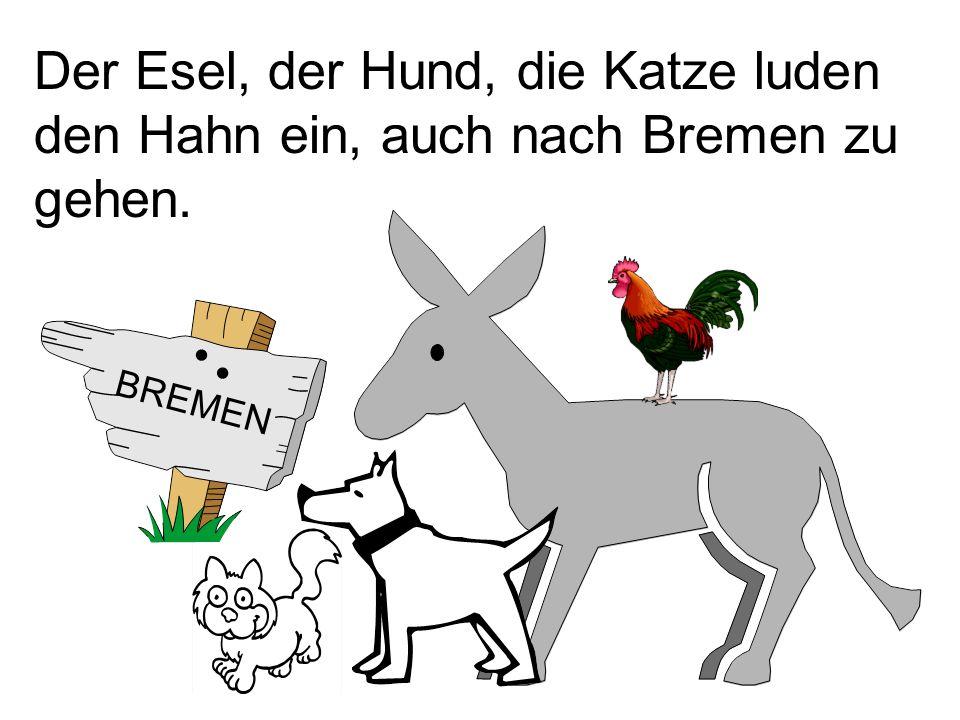 Der Esel, der Hund, die Katze luden den Hahn ein, auch nach Bremen zu gehen. BREMEN