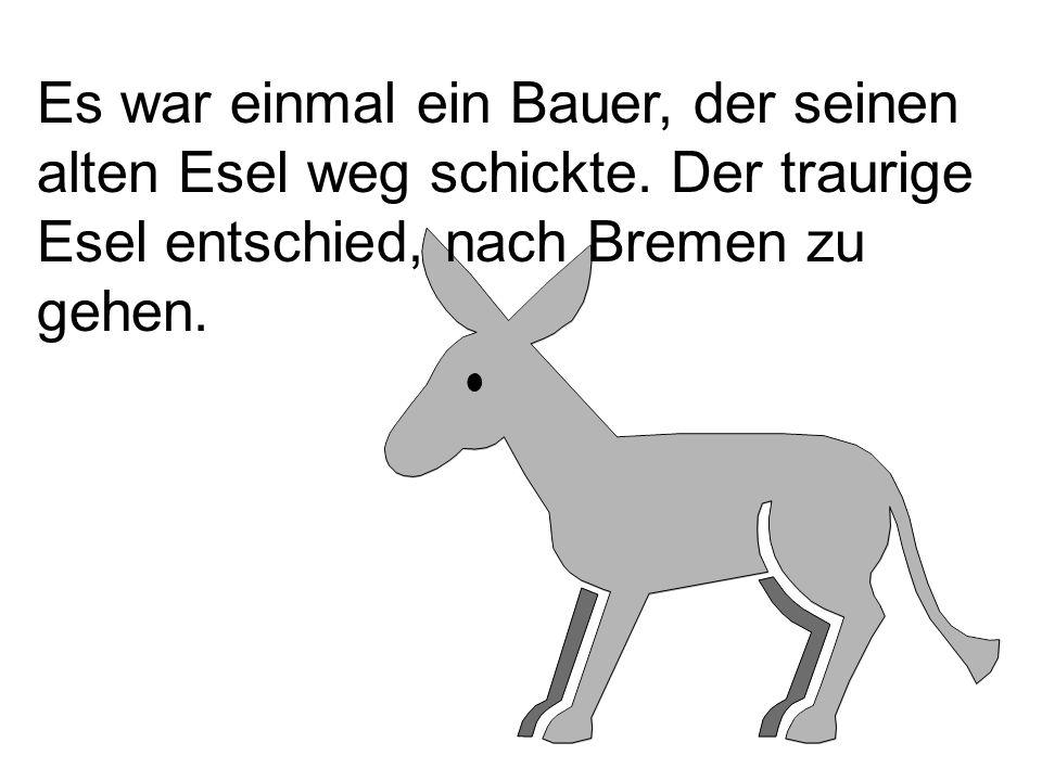 Es war einmal ein Bauer, der seinen alten Esel weg schickte. Der traurige Esel entschied, nach Bremen zu gehen.