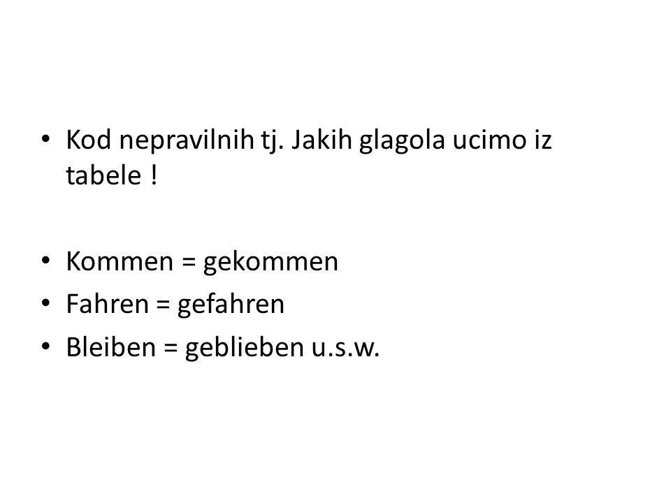 Kod nepravilnih tj. Jakih glagola ucimo iz tabele ! Kommen = gekommen Fahren = gefahren Bleiben = geblieben u.s.w.