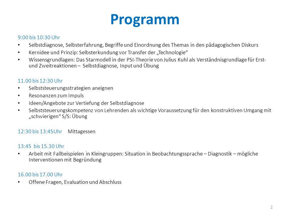 Programm 9:00 bis 10:30 Uhr Selbstdiagnose, Selbsterfahrung, Begriffe und Einordnung des Themas in den pädagogischen Diskurs Kernidee und Prinzip: Sel