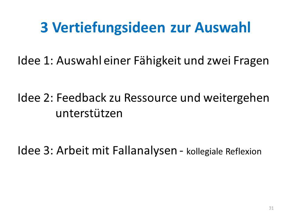 3 Vertiefungsideen zur Auswahl Idee 1: Auswahl einer Fähigkeit und zwei Fragen Idee 2: Feedback zu Ressource und weitergehen unterstützen Idee 3: Arbe