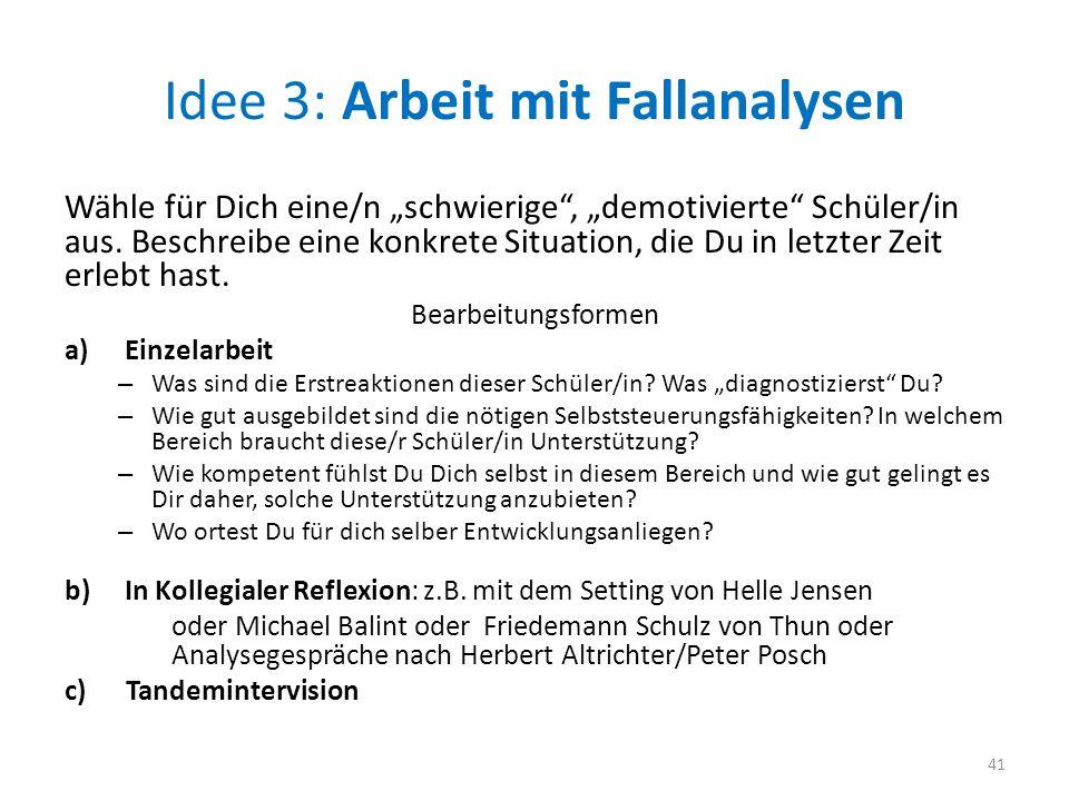 """Idee 3: Arbeit mit Fallanalysen Wähle für Dich eine/n """"schwierige"""", """"demotivierte"""" Schüler/in aus. Beschreibe eine konkrete Situation, die Du in letzt"""
