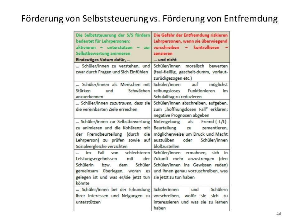 Förderung von Selbststeuerung vs. Förderung von Entfremdung 44