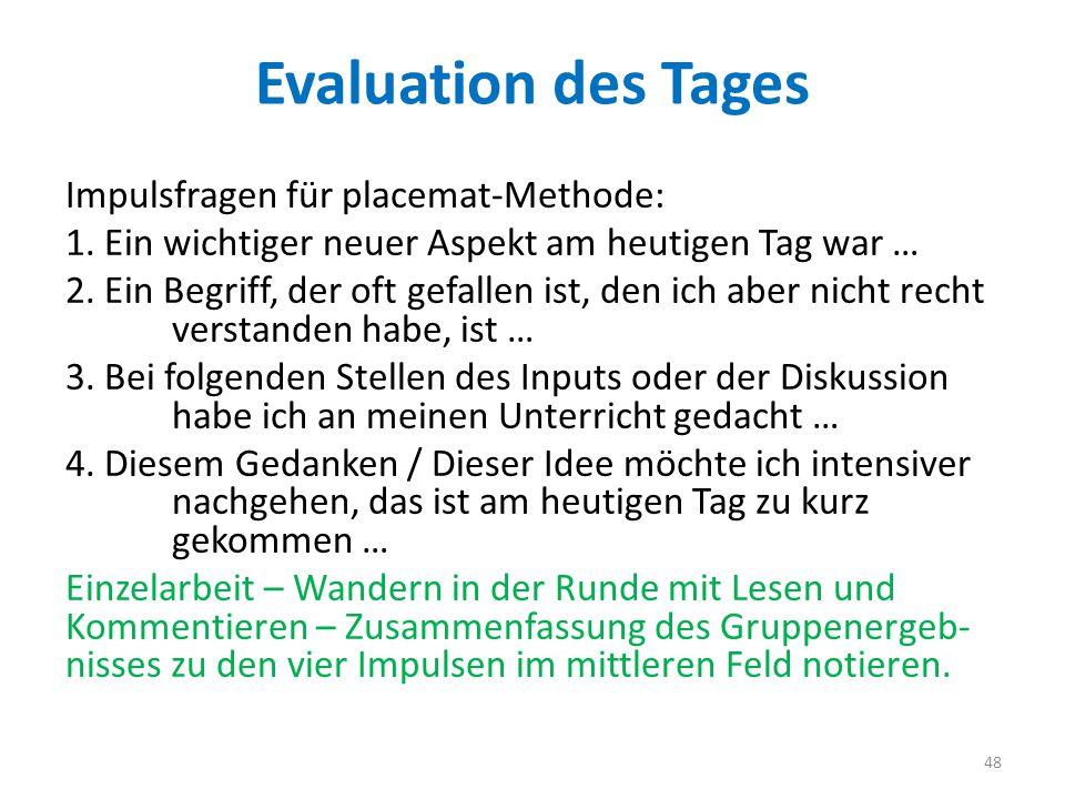 Evaluation des Tages Impulsfragen für placemat-Methode: 1. Ein wichtiger neuer Aspekt am heutigen Tag war … 2. Ein Begriff, der oft gefallen ist, den