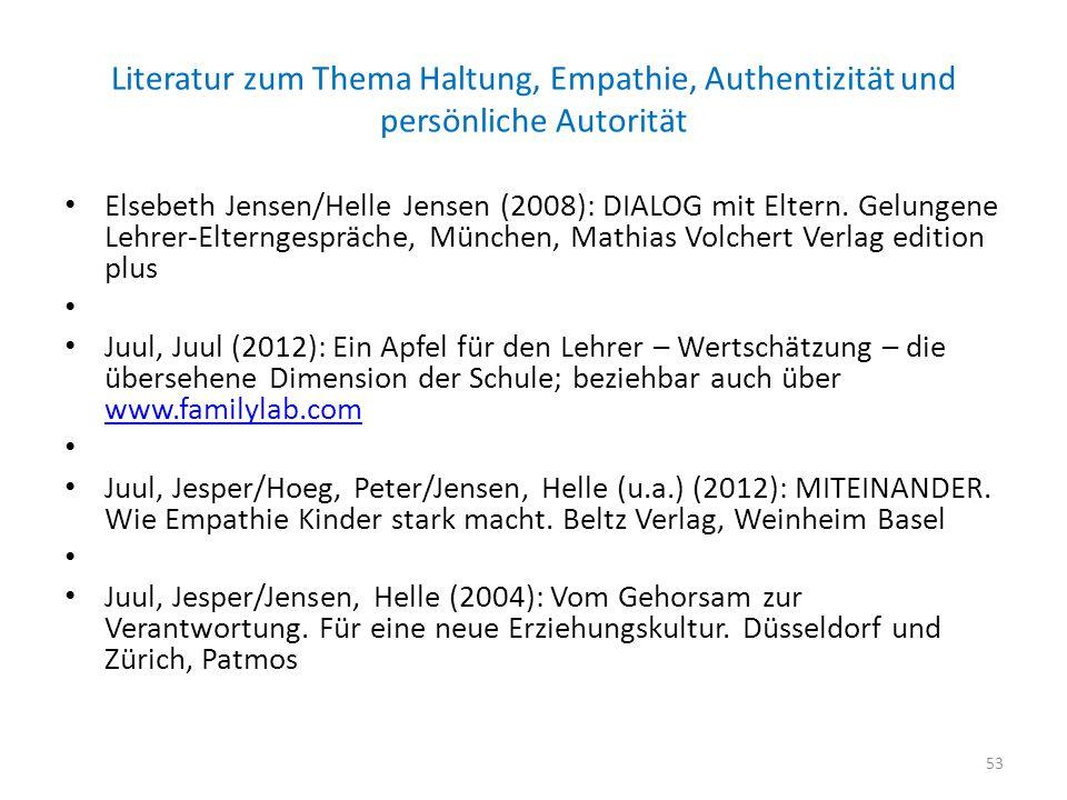 Literatur zum Thema Haltung, Empathie, Authentizität und persönliche Autorität Elsebeth Jensen/Helle Jensen (2008): DIALOG mit Eltern. Gelungene Lehre