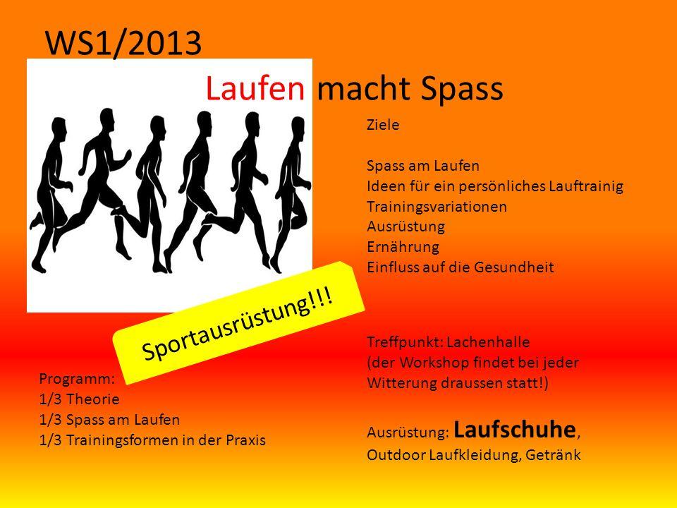 WS1/2013 Laufen macht Spass Ziele Spass am Laufen Ideen für ein persönliches Lauftrainig Trainingsvariationen Ausrüstung Ernährung Einfluss auf die Ge