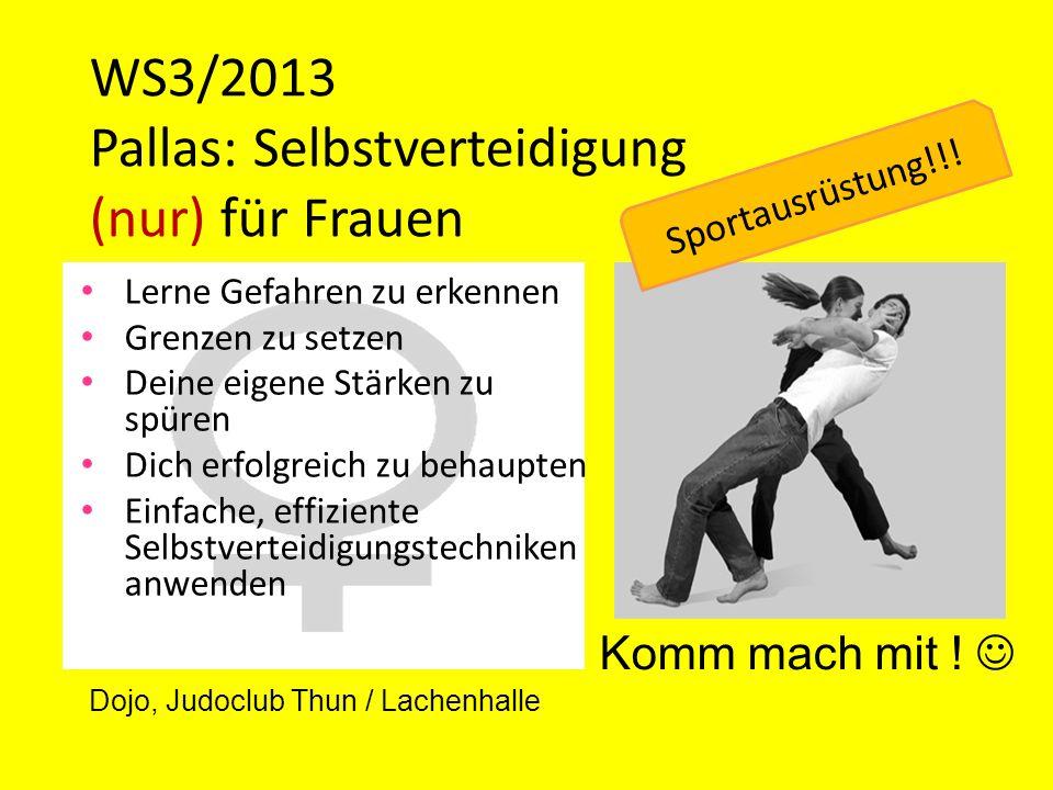 WS3/2013 Pallas: Selbstverteidigung (nur) für Frauen Lerne Gefahren zu erkennen Grenzen zu setzen Deine eigene Stärken zu spüren Dich erfolgreich zu b