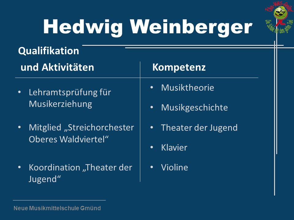 """Neue Musikmittelschule Gmünd Hedwig Weinberger Qualifikation und Aktivitäten Lehramtsprüfung für Musikerziehung Mitglied """"Streichorchester Oberes Wald"""