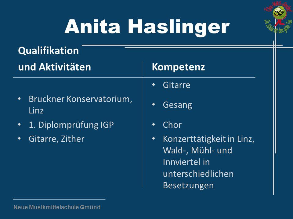 Neue Musikmittelschule Gmünd Anita Haslinger Qualifikation und Aktivitäten Bruckner Konservatorium, Linz 1. Diplomprüfung IGP Gitarre, Zither Kompeten