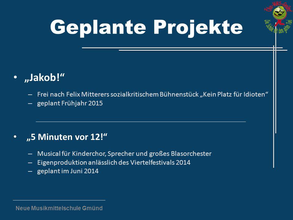 """Neue Musikmittelschule Gmünd Geplante Projekte """"Jakob!"""" – Frei nach Felix Mitterers sozialkritischem Bühnenstück """"Kein Platz für Idioten"""" – geplant Fr"""